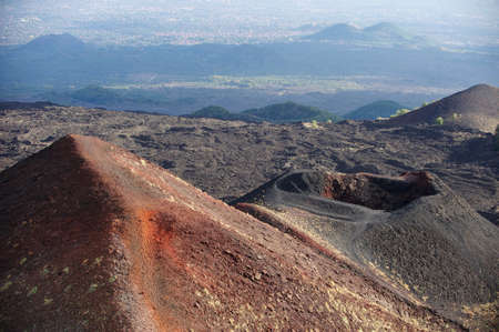 volcano slope: Red volcano slope and lava fields on the Etna