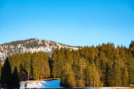 frosty morning: winter calm mountain landscape in evening time Stock Photo
