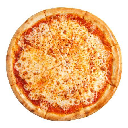 Pizza Margherita vista dall'alto. Pizza con formaggio isolato su sfondo bianco. Archivio Fotografico