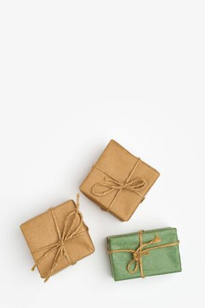 Hand crafted soap. Three bars of hand made soap wrapped in paper and tied with twine