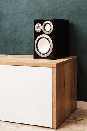 One modern black audio speaker system in interior on wooden desk near the dark green wall
