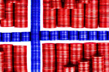 flagge norwegen flag norway m�nzen coins Stock Photo