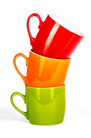 three stacked colored cups on a white background