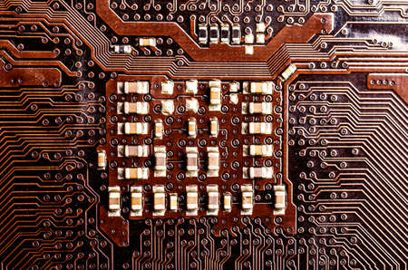 some electronic components on a circuit board Imagens