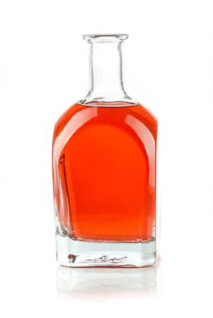 glass bottle with a red liquid on white background 版權商用圖片