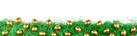 panorama of golden easter eggs on green easter grass, isolated with white background 版權商用圖片