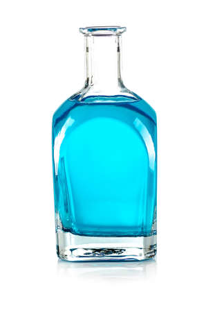 glass bottle with a blue liquid on white background 版權商用圖片