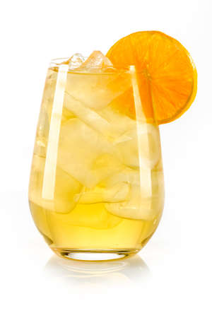 orange yellow drink with ice cubes and orange slice on white background, isolated 版權商用圖片