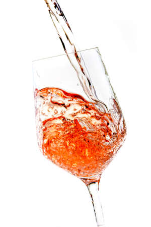 a glass of rose wine  isolated on white background 版權商用圖片