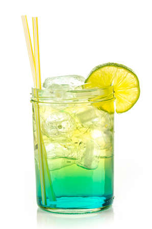 drink with ice cubes and lemon slice on white background, isolated