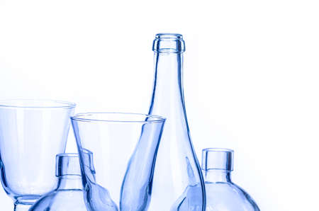 empty light blue glassware on a white background