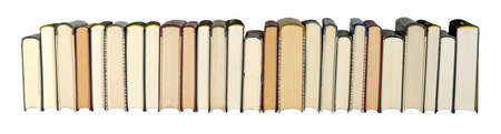 old books in a row as panorama or border in banner size on white background, isolated