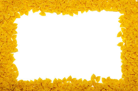 frame, built from pasta farfalle, white background, mockup