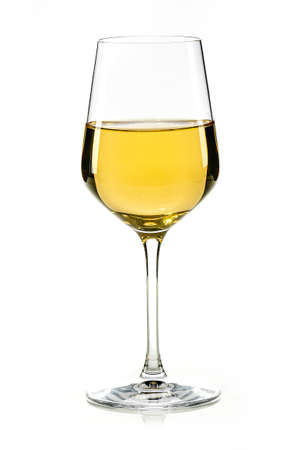 a glass of white wine or sherry isolated on white background