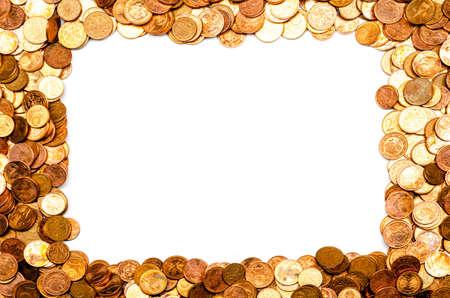 frame, buillt from coins, white background, mockup Banco de Imagens