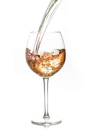 pouring a glass of rose wine,  isolated on white background