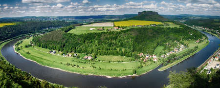 panorama view of the river elbe, saxony germany