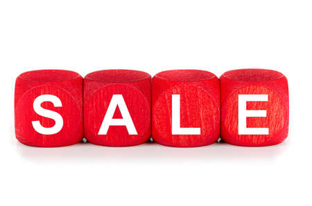 term sale- built from red wooden cubes on white background, isolated Banco de Imagens