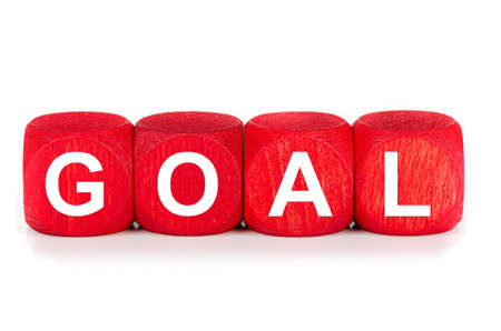 term goal- built from red wooden cubes on white background, isolated