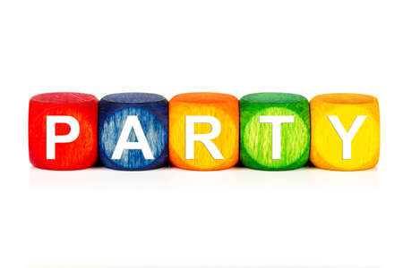 term party - built from colored wooden cubes on white background, isolated Banco de Imagens
