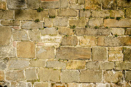 stone wall texture built from sandstone plates Banco de Imagens