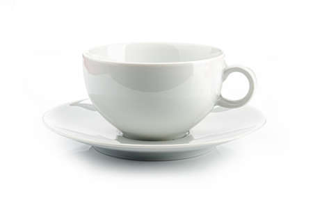 a white teacup on a white background, isolated Banco de Imagens