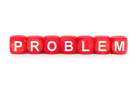 term PROBLEM - built from red wooden cubes on white background, isolated