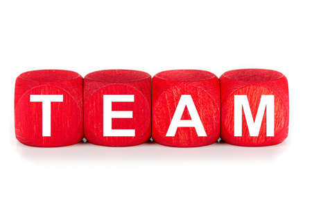 term TEAM - built from red wooden cubes on white background, isolated