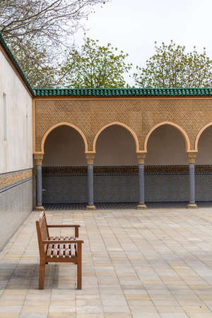 arabic arcade colonnade portico with wooden ceiling with ornaments