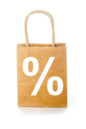 sign PERCENT on a shopping bag, isolated on a white background Banco de Imagens