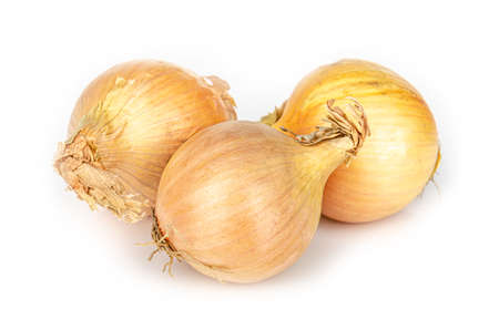 three onions on white background, isolated