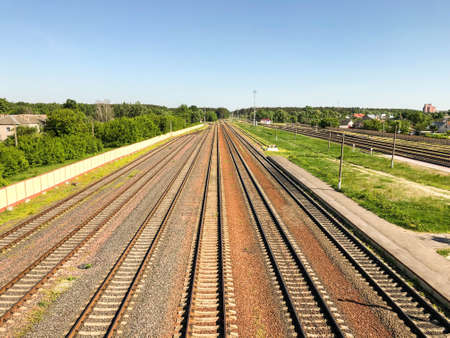 View of the railway going away and the blue sky Reklamní fotografie