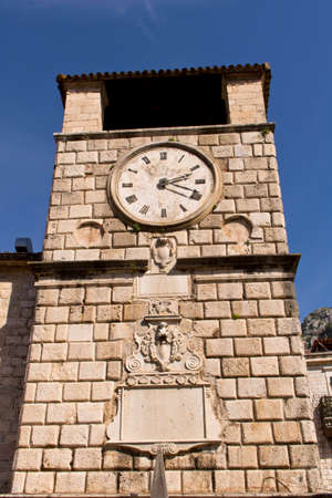Old clock tower in the old town. Cator. Old town. Montenegro.