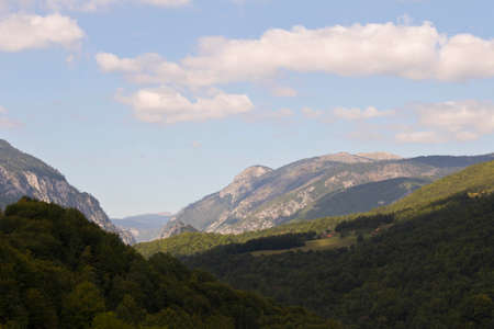 Mountains against the blue sky. Mountains in Montenegro. Selective focus.