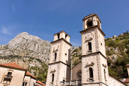Old clock tower in the old town. Cator. Old town. Montenegro Stock Photo