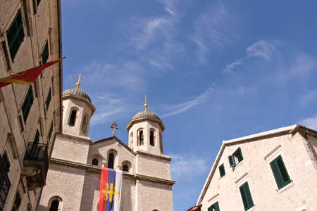 Church against the blue sky. Cator.Old town. Montenegro