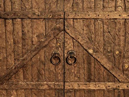 Old wooden gates. Close up. Antique gates