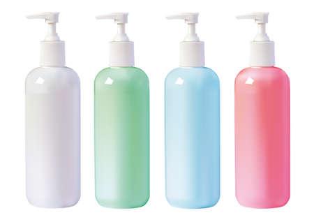 few: few bottles of liquid soap isolated on white