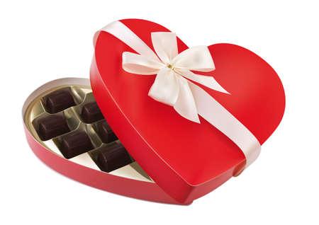 화이트 활에 심장 모양의 빨간색 상자 일러스트