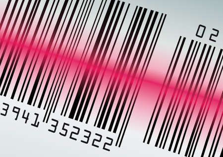 Barcode with red laser beam. Vector illustration  Ilustrace