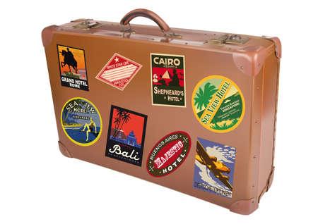 reise retro: Ein Weltreisender Koffer in einem weißen Hintergrund isoliert