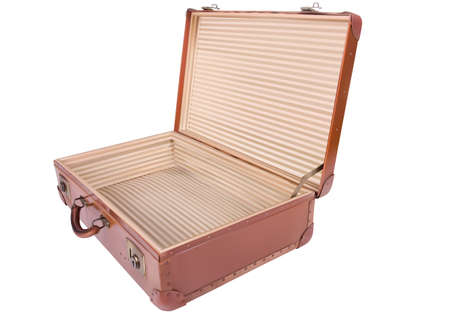antique suitcase: A traveler suitcase isolated over a white background