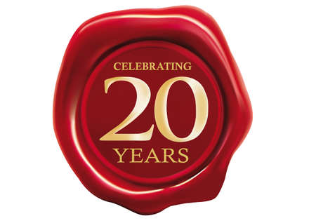 seal wax: celebrating 20 years wax seal over white background