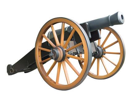 Antiguo cañón de artillería sobre fondo blanco
