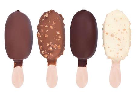 나무 막대기에 다른 초콜릿 아이스크림 디저트 세트