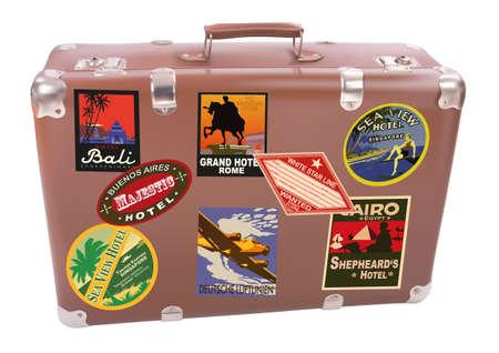voyage: Valise voyageur du monde sur fond blanc Illustration
