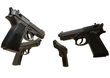 Illustration of black guns on the white background Vector