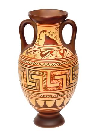 pottery: Illustration of Amphora over white background