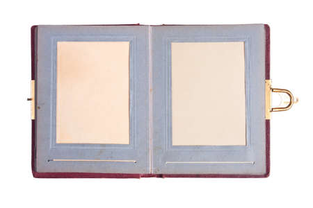 old photo album: Old Photo album over white background