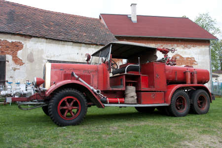 karlovy vary: An old vintage fire truck on the grass, Karlovy Vary
